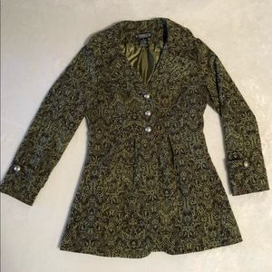 The Pyramid Collection • Lightweight Green/Brown Print Jacket • Women's Sz Small